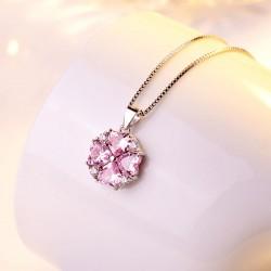 Collier en argent clavicule femmes élégante cadeau Saint Valentin amour coeur forme pendentif en cristal Collier