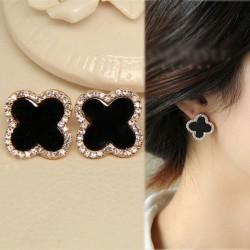 Noir Trèfle diamant Mode Bijoux Argent aiguille oreilles hypoallergéniques
