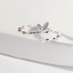 Cute Branch Two Leaves Silver Girlfriend Gift Open Ring