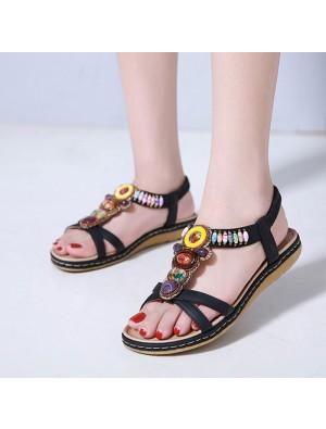 Bohême rétro perlé Plage de vacances Appartements Chaussures d'été Sandales pour femmes