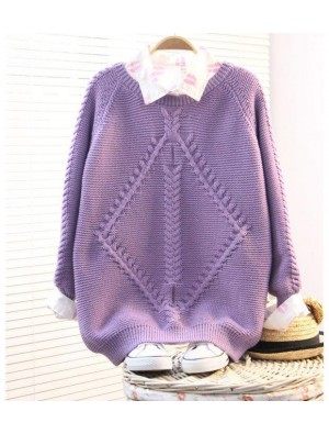 Vintage Purple Raglan Twist Sleeve Sweater