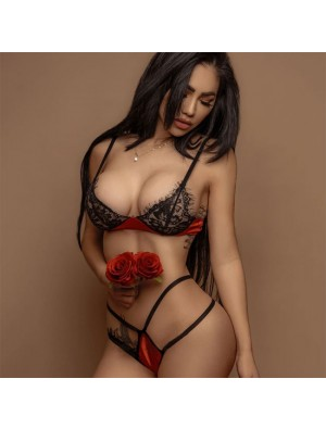 Splice rouge sexy laisse soutien-gorge en dentelle noire ensemble femmes lingerie intime