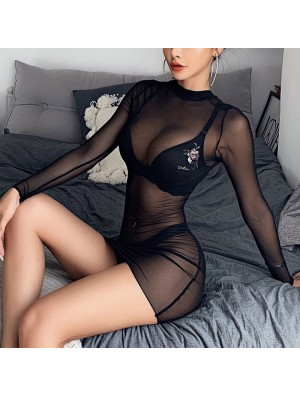 Sexy Perspective Noire Maille Nuisette À Manches Longues Robe Perspective Lingerie Intime