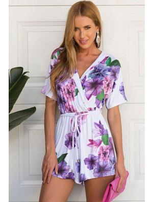 Latest Violet Printed Short-sleeved V-neck Piece Romper&Jumpsuit