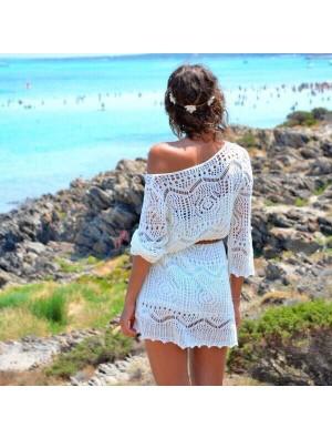 Tricoté Blanc Creux Robe Plage La perspective Blouse Robe