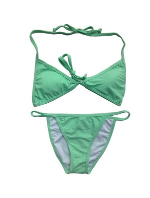 Green Solid split Bikini Sexy Beach Swimsuits Bikini Set