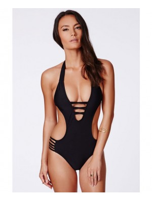 Black Bandage Bikini Halter Slim Bikini Set Swimsuit One-piece Swimwear