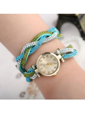 Coloré Couverture faux diamant Brillant Tisser Université Femmes Montre-bracelet