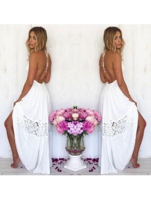 Robe longue d'été sans coutures en dentelle sans manches avec couture pour femme
