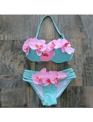 Phalaenopsis Print Bikini Retro String Bandage Halter Swimsuits Bikini Set