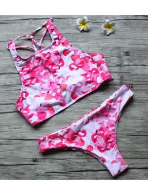 Pink Flamingo Print Bikini Split Triangle Swimsuits Bikini Set