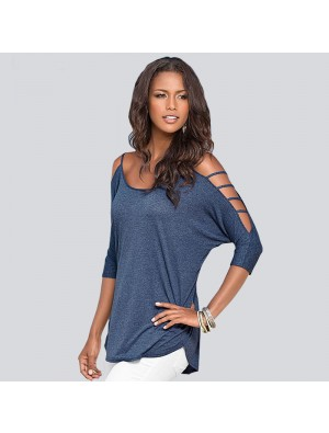 Solid Hollow Strapless Short-sleeved T-shirt For Women