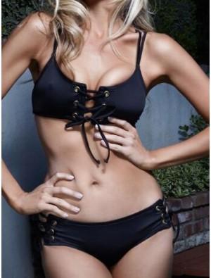Black Cross Straps Bikini Padded Bra Triangle Swimsuits Bikini Set