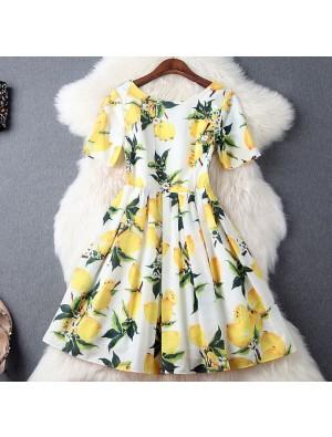 Fashion Lemon printing Beading Silm Short-sleeved Dress Party Dress