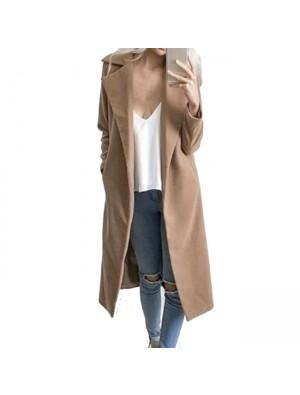 Manteau long en laine à manches longues pour femmes à revers large et pardessus en laine de couleur simple
