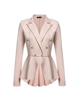 Manteau de blazer élégant double boucle en métal à manches longues