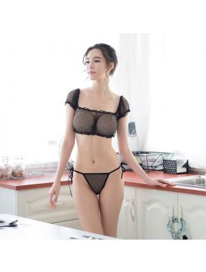 Ensemble De Soutien-gorge Transparent Sexy En Dentelle Noire Femmes Lingerie Intime