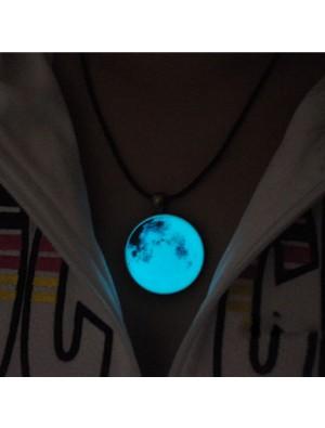 Rétro rougeoyant lune lumineux collier pendentif original