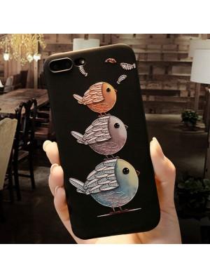 Joli couple oiseaux de bande dessinée en relief iPhone 6 / 6s / 6 plus / 6s plus / 7 / 7plus / 8/8 plus Iphone Cover
