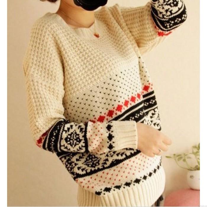 Unique Vintage Pattern Weave Neck Sweaters