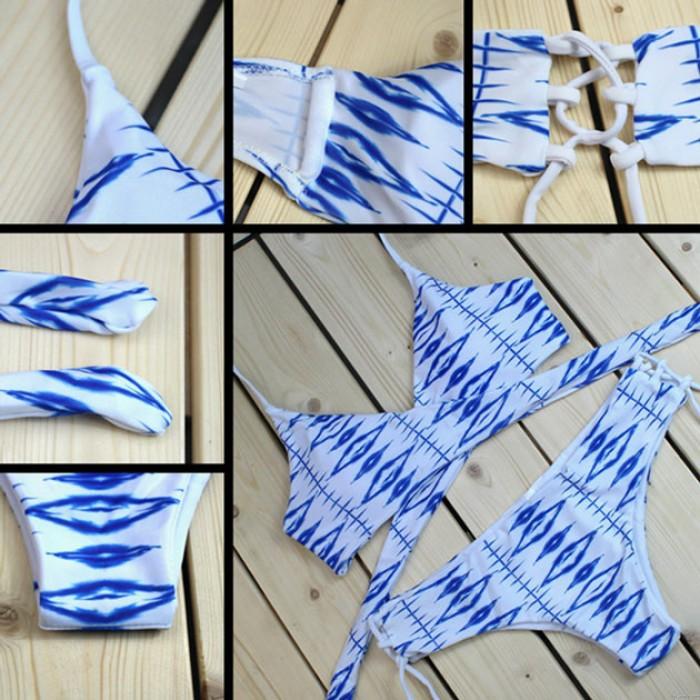 Maillot de bain fendu en bikini à imprimé losanges bleu et blanc