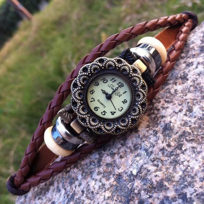 Mode Une fleur Perler Cuir Bracelet Regardez