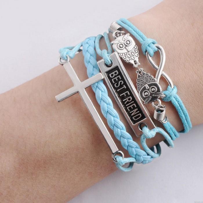 Meilleur ami hibou croix infini bracelets