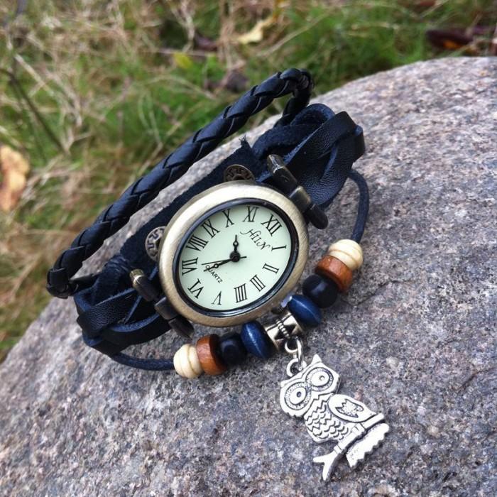Rétro Ovale Chouette Bracelet Regardez