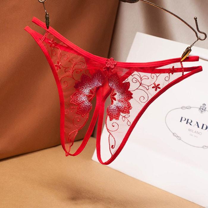 Sexy Engrener Broderie Ouvert Entrejambe T Pantalon Lingerie Femme Culotte Fleur Transparente