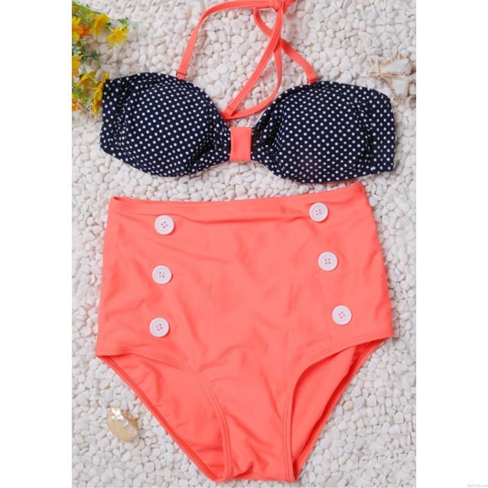 Dot Pattern High Waist Button Bikini Swimsuit