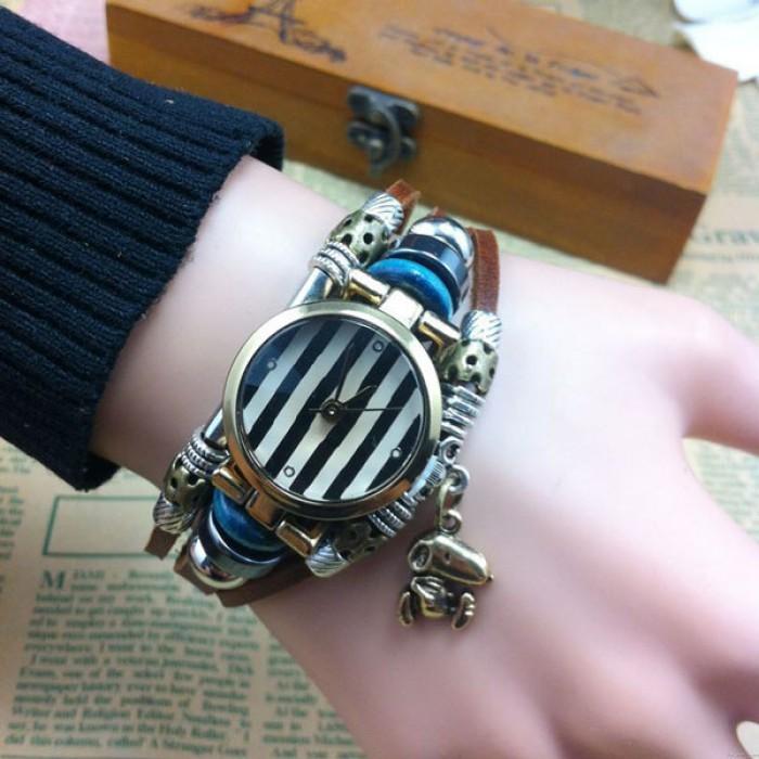 Fait main Rayé Animal Charme Cuir Bracelet Regardez