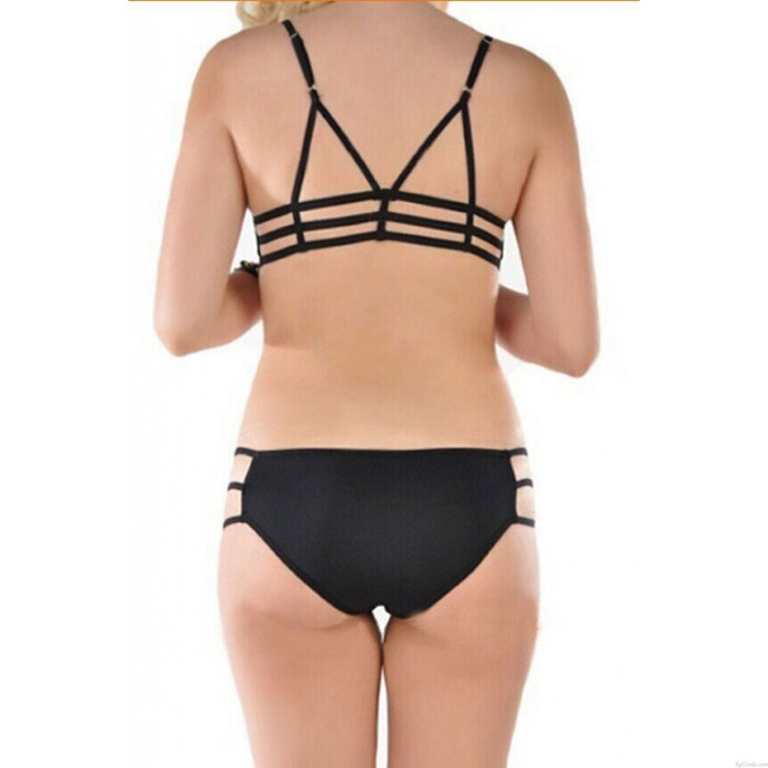 Summer Grid Mesh Beach Swimsuit Triangle Halter Bikini