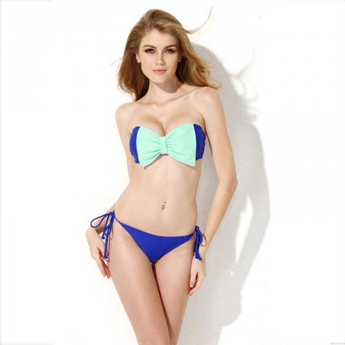 Sexy Bow Contrasting Colors Beach Swimsuit Bikini Halter
