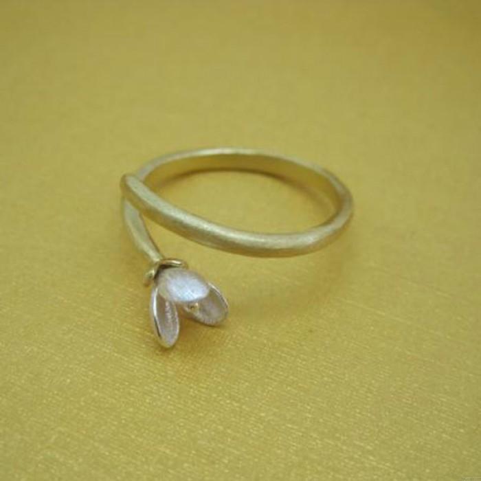 Motif fleurs à la main en argent Femmes Anneaux