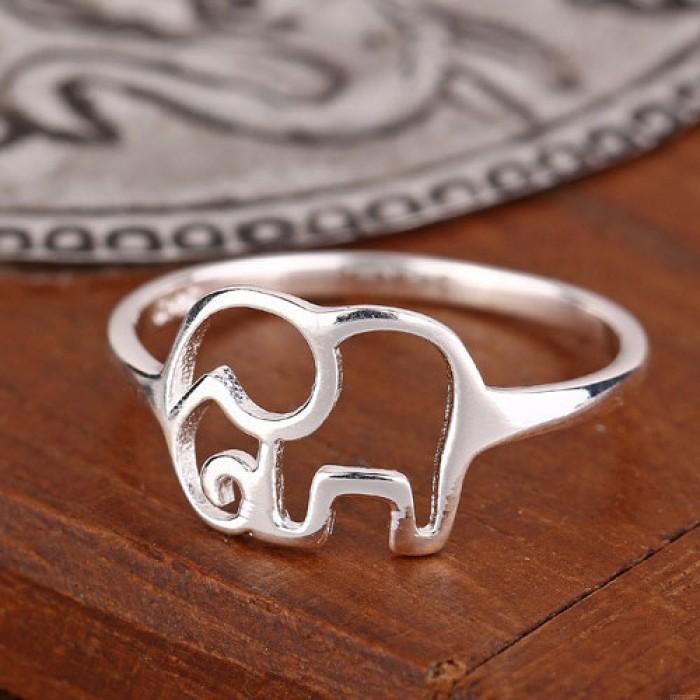 Mignon Facile Creux l'éléphant Argent Bague