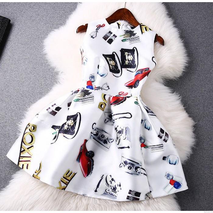 Style doux Printemps Voiture Imprimer Manches Robe