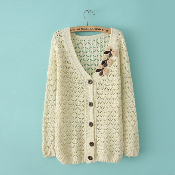 Vintage Fresh Bow Hollow Out Slim Sweater