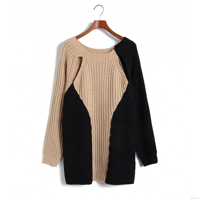 New personalized stitching Geometric Mosaic Sweater &Cardigan