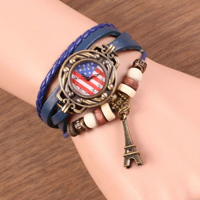 Retro Rope Weave Eiffel Tower Bracelet Watch American Flag Leather Strap Wrist Watches