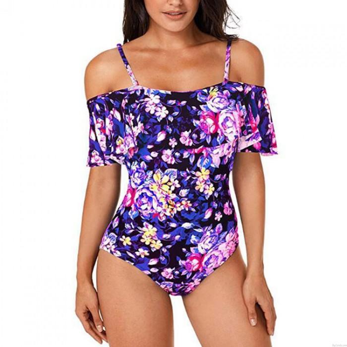 Sexy aux femmes Fleur Feuilles Impression Un Pièces Les bretelles Plage Fronde Maillot de bain Bikini