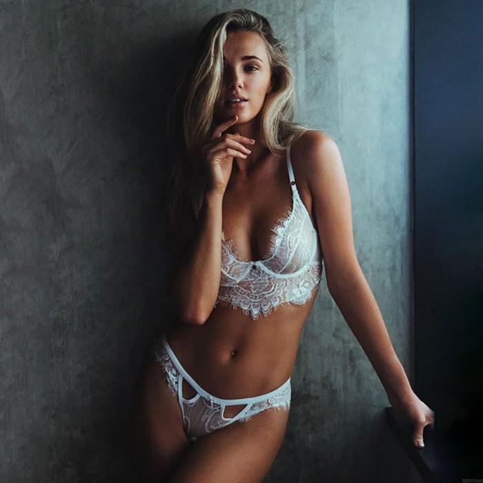 Femmes dentelle licou évider sexy lingerie costume sous-vêtements