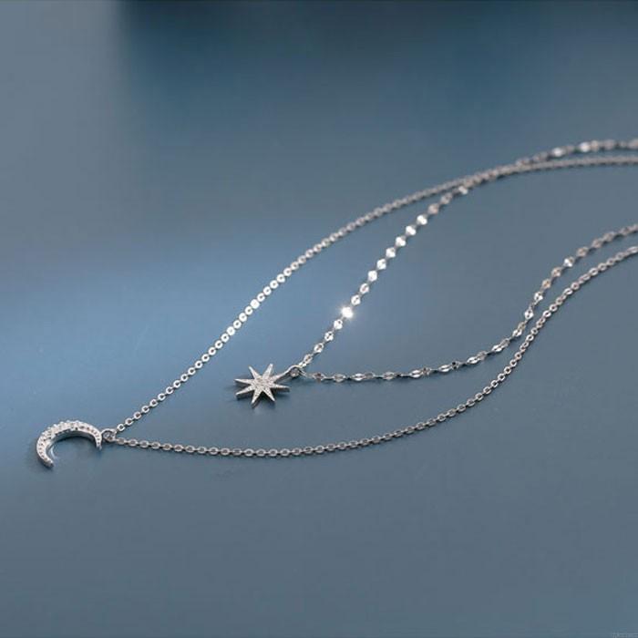 Collier en argent unique à huit pointes étoile lune double couche cristal femmes