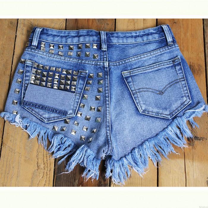 Summer Sexy High Waist Denim Shorts Jeans Women Plus Size Hot Rivet Shorts