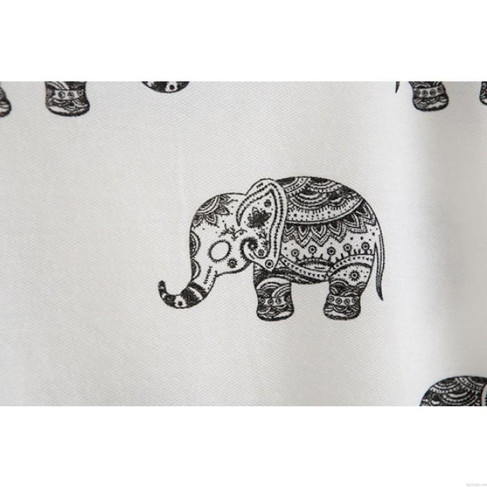 Lovely Elephant Cartoon Printed T-Shirt
