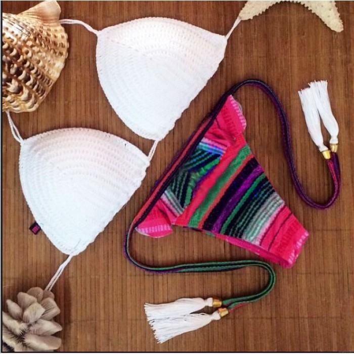 Folk Style Weave Stripe Sexy Brace Bikini
