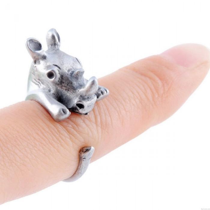 Bague en Alliage Bague bébé Mignon Ouverture en Forme de Rhinocéros