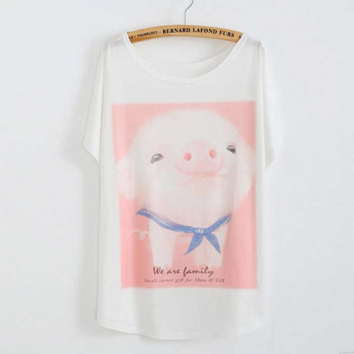 Cute Piggy Printed Cotton T-Shirt