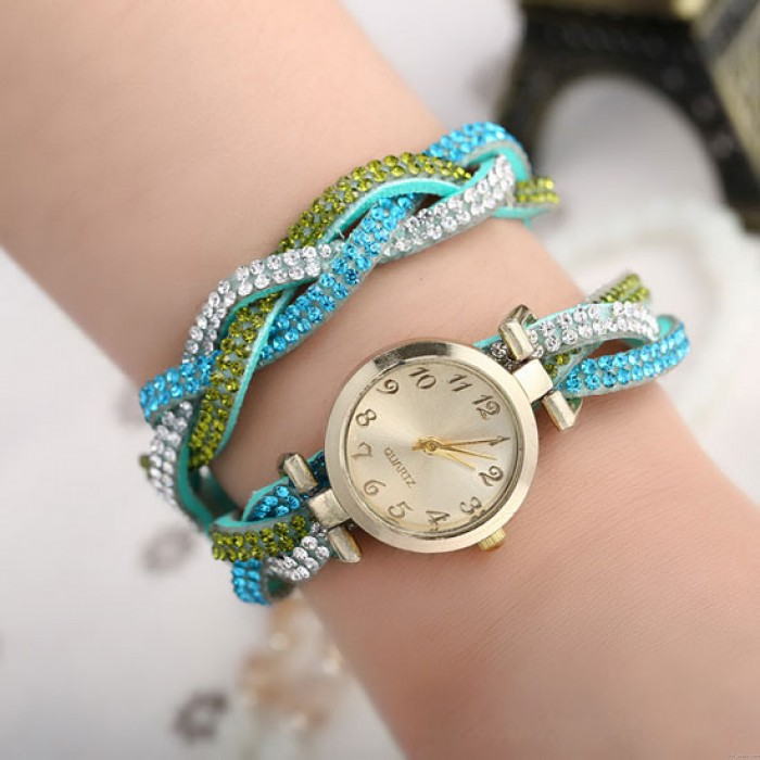 Coloré Couverture faux diamant Brillant Tisser Université Femmes Montre-bracelet
