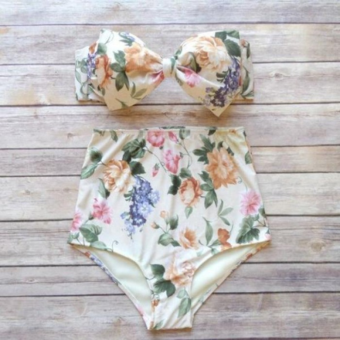 Sexy Bow Bathing Suit High Waist Bikinis Push Up Bikini