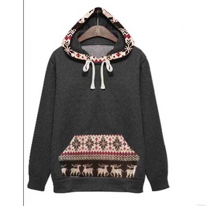 Populaire style L'hiver Manteau Plus Épais En velours Encapuchonné Cerf Chandail
